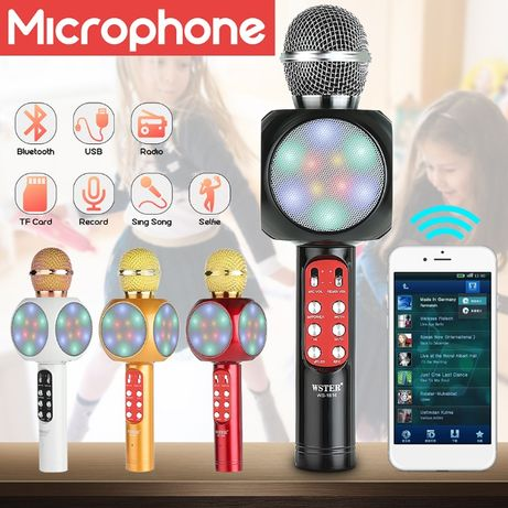 Безжичен bluetooth караоке микрофон с колонка RADIO Microsd колона usb