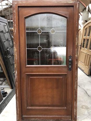 Usa casa firma intrare lemn geam vitraliu termopan H 216 x L 108