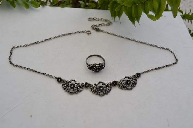 Set argint colier și inel Art Nouveau Designer German Anii 20