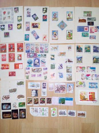 пощенски марки, половината с печат