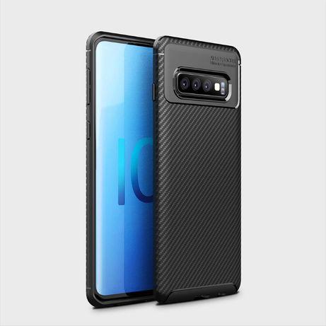 Husa Carbon Slim Din Silicon Neagra - Samsung S10E S10 S10+ S10 5G