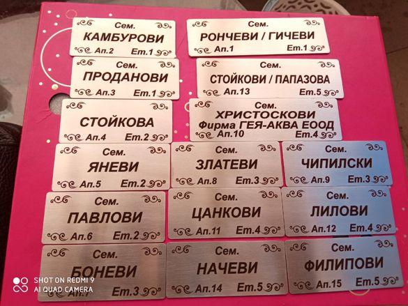 Табели за врати , пощи и адресни табели от неръждаема стомана