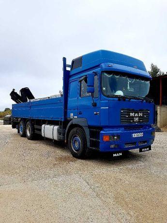 Камион ман с кран хиаб със стрела 13 метра извършва и траспортни услуг