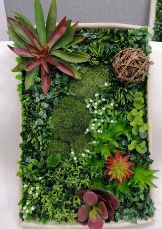 Vand tablou cu muschi si plante artificiale (tablou artificial)