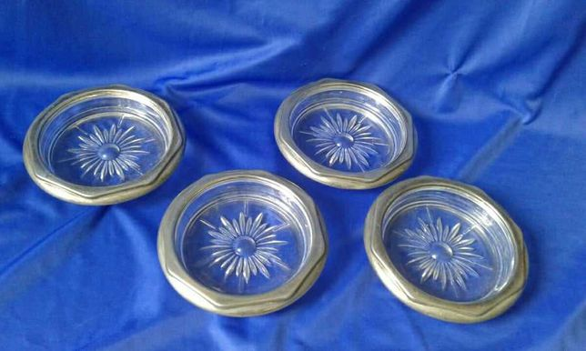 Set scrumiere cristal argintat
