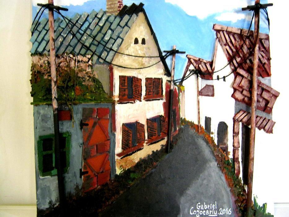 Tablou 3D pictat manual - Pe ulita satului