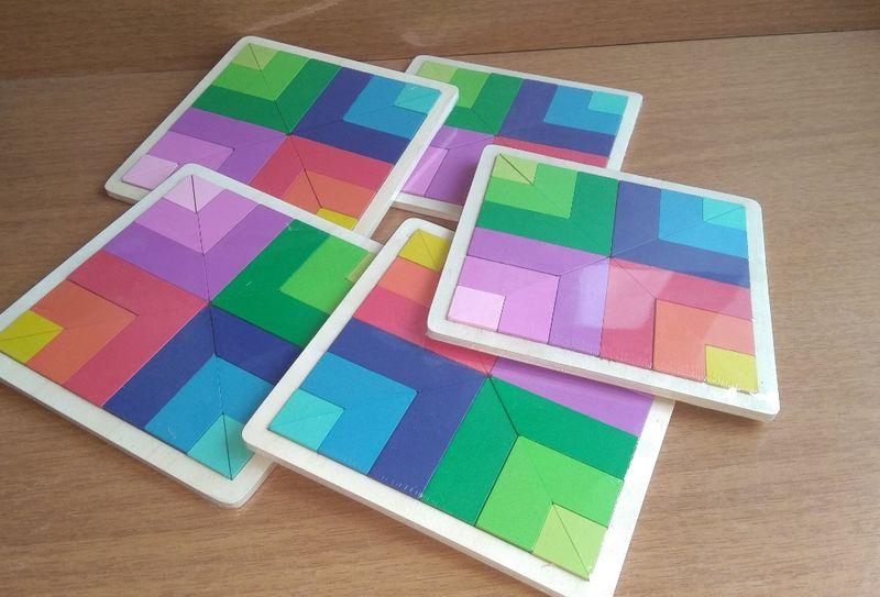 ПРОМО! 5 бр. Дървен Геометричен Тетрис Цвете , логически и занимателен гр. Бургас - image 1