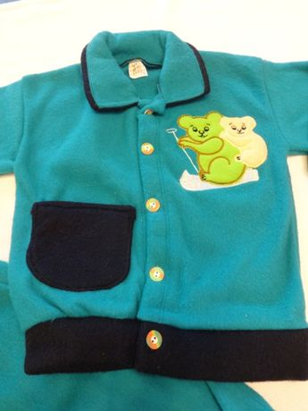 Бебешки поларен комплект Блузка с джобчета и панталон Зимен бебешки ко