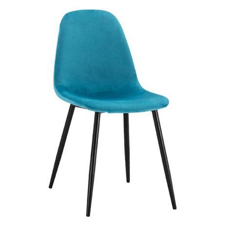 Трапезен стол леонардо тюркоаз кадифе с метални крака