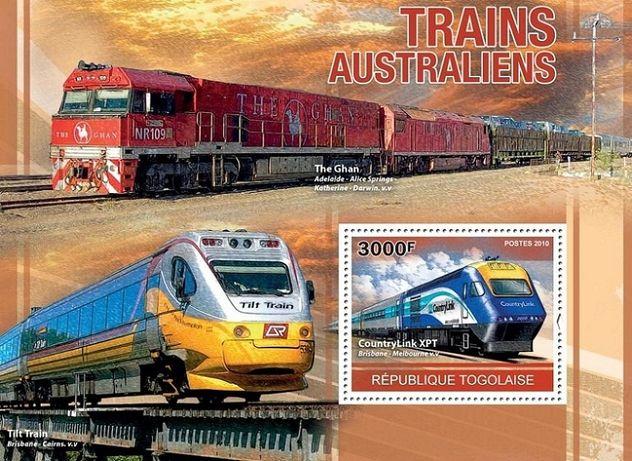 Super timbre colita tematica feroviara trenuri din Australia