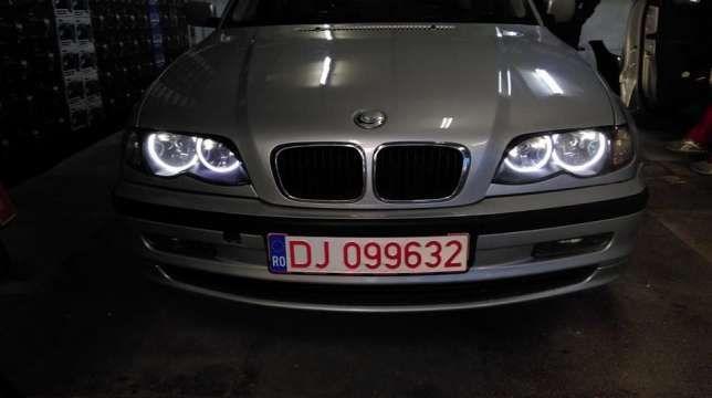 Pachet 2 Lupe Bixenon+Kit Xenon Canbus 35W+4 Inele Angel Eyes BMW E46