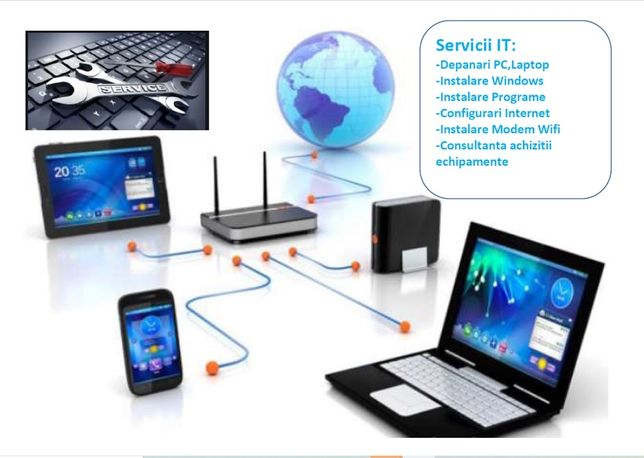 Servicii IT, Instalari Windows PC, Laptop,Modem Wifi,Service,Reparatii