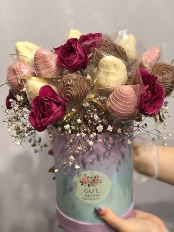 Букеты из КЛУБНИКИ В ШОКОЛАДЕ МАМЕ/ БЕНТО торты цветы подарки розы