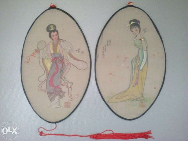 Pereche tablouri dansatoare Japoneze din matase naturala, sala dans