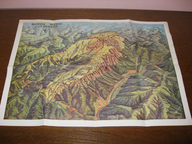 Harta Masivul Bucegi peisaj vara OJT Prahova J. M. Lichwar G Niculescu