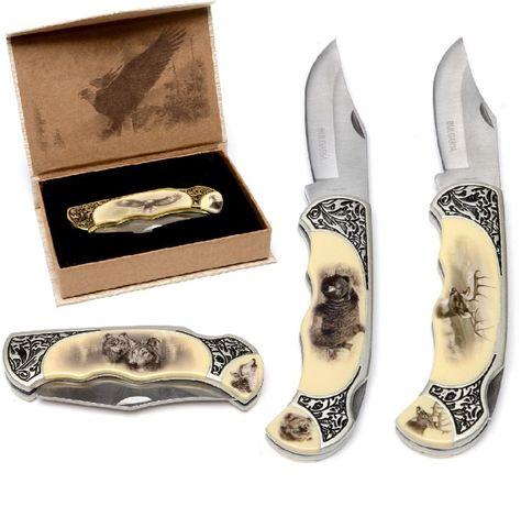 Сгъваеми ножове гравирани с горско животно и ПОДАРЪЧНА кутийка лукс