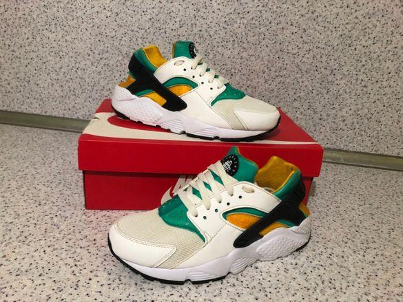 ОРИГИНАЛНИ ***Nike Huarache Run (White / Black / New Green / Sundow)