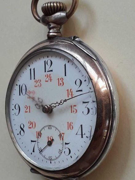 Сребърен джобен часовник с позлата Cilindre
