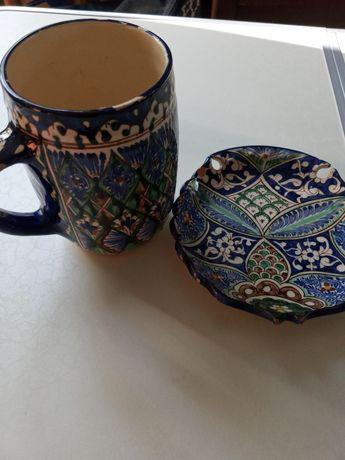 Бокал с тарелкой росписные керамика восточные.