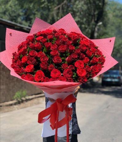 Голландские и местные розы, пионы, цветы Алматы с круглосут доставкой