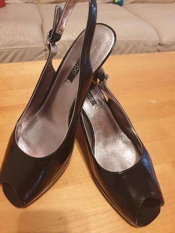 Sandale negre piele, lăcuite, Ecco mărimea 40