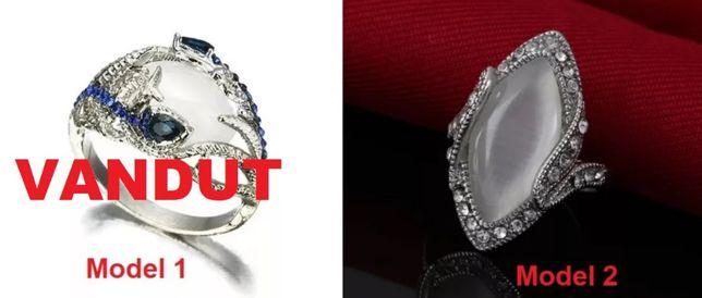 Inel oval model romantic elegant feminin PIATRA ALBA OPAL cu zirconii