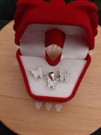 Set argint 925 cercei si pandantiv fluture