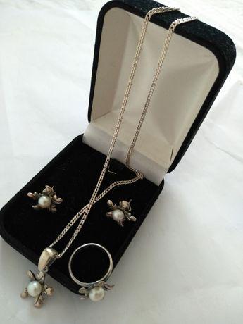 Set argint cu perle veritabile