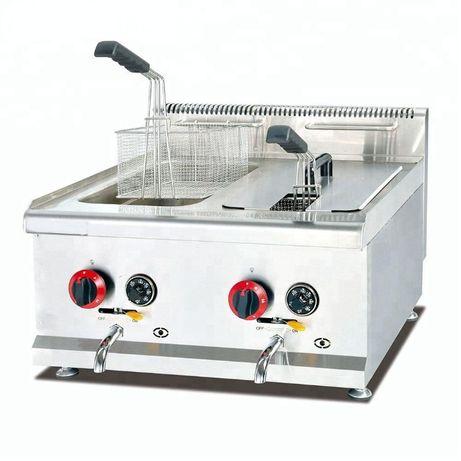Friteuza profesionala gaz robineti golire 15l+15l - TRANSPORT INCLUS
