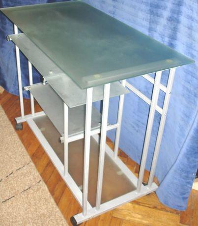 Masa birou pentru calculator / laptop din sticla mata pe cadru metali