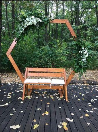 Arcada si bancuta din lemn / decoratiuni nunta / evenimente