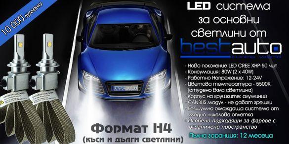 Бели Диодни LED крушки за фарове формат H4 10000 Лумена 5500 Kелвина