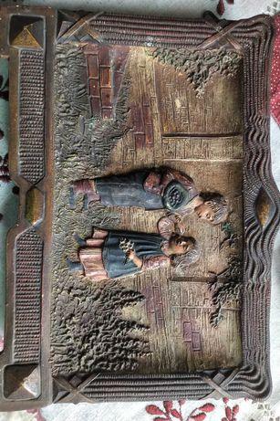 Tablou ceramic foarte vechi tenta Masonica