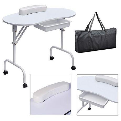 Masa pentru manichiura CADOU geanta - pliabila, mobila -Alb