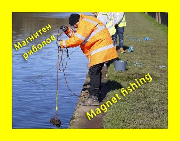 60mm 140кг. МАГНИТ за магнет фишинг, магнитен риболов, с кука (халка)