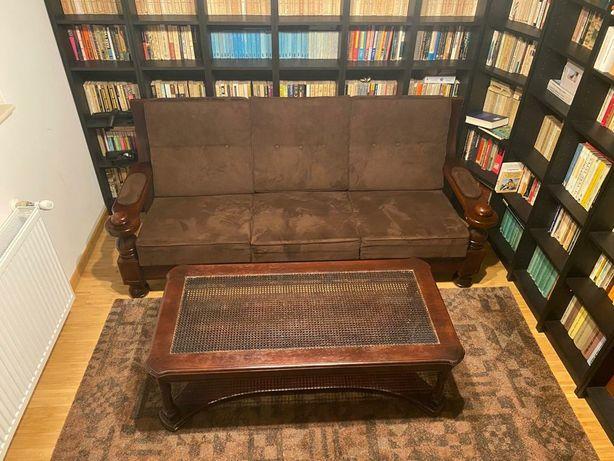 Set mobila lemn masiv canapea + fotolii+ masuta blat de sticla
