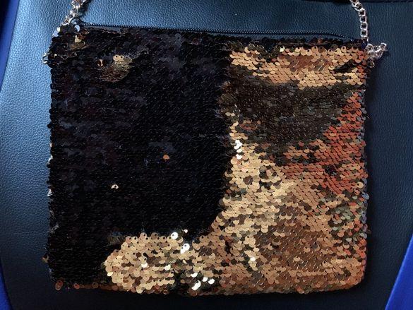 Чанта с пайети , които си сменят цвета при обръщане