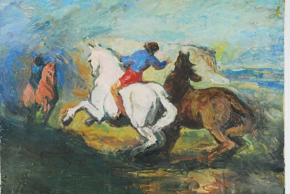 Tablou pictura - Caii salbatici - ulei pe carton
