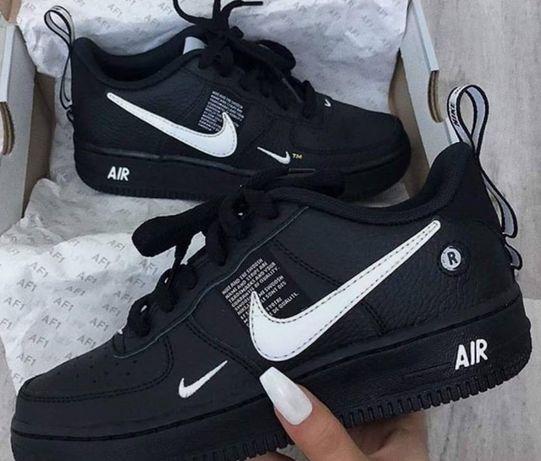 Adidasi Nike Air Force One 1 utility TM alb negru marimi 36-44