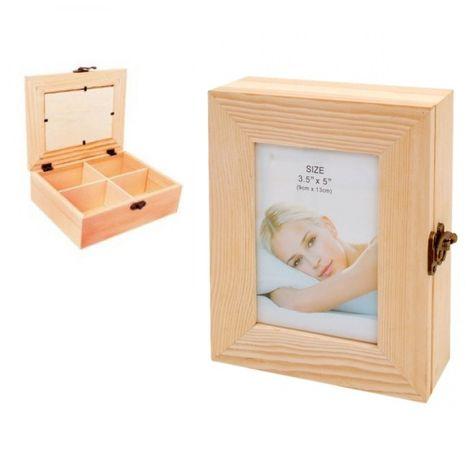 Дървена кутия с фоторамка