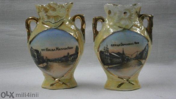 Стари порцеланови миниатюрни вазички, ръчно рисувани