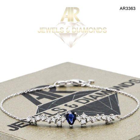Bratara Aur Alb cu Diamante si Sapphire model nou ARJEWELS (AR3363)