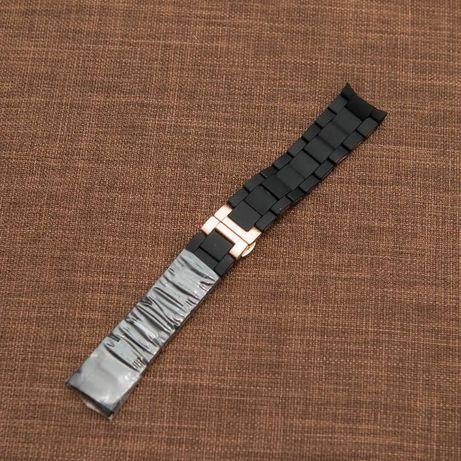 Bratara silicon si otel neagra 23mm pentru Armani