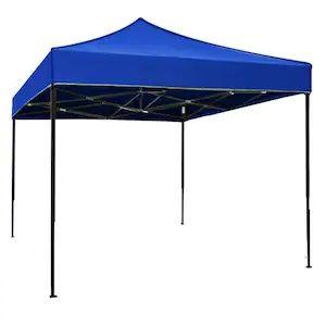 Cort Pavilion 3x3m Albastru Pliabil Cadru Metal pentru Curte, Gradina,