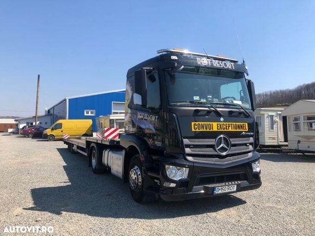 Mercedes-Benz Actros + platforma/ trailer cu troliu (ansamblu)