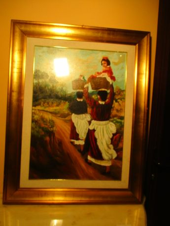 tablou ulei pe panza cu rama de lemn 94/74 cm