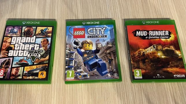 3 jocuri pt xbox one lego city,gta5, mud runer