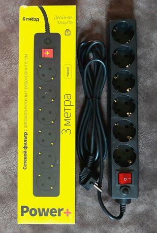Сетевой фильтр на 6 розеток с предохранителем (кабель 3 метра)