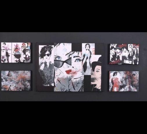 Картинно пано от 5 картини с фешън дизайн