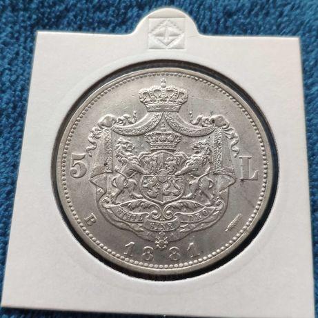 Moneda 5 lei 1881, stema mare, 5 stele cu 5 raze, superba.